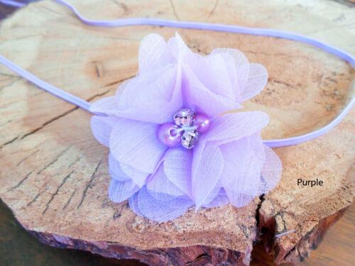 Baby Girl Headband Hairband Chiffon FlowerRhinestone Christening Party