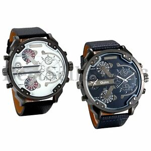 Mens-Watches-Dual-Time-Zone-Leather-Strap-Big-Face-Military-Quartz-Sports-Watch