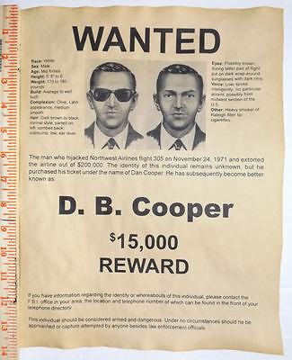 Cooper Wanted Poster Hijacker Loyal Big 11x14 D.b D B Aesthetic Appearance Db Skyjacker Robber