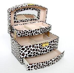Schmuckkasten Schmuckkoffer Schmuckkästchen Kosmetikkoffer Cg Leopard / Braun Offensichtlicher Effekt