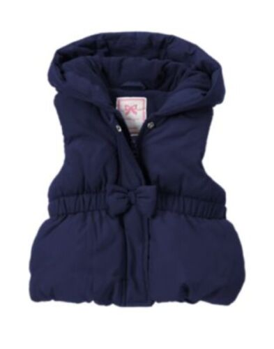 GYMBOREE FAIR ISLE FLURRY NAVY BOW PUFFER LINED VEST 6 12 24 2 3 4 5 NWT