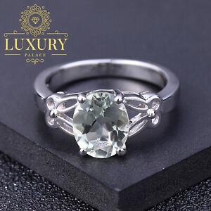 Natural Green Amethyst Prasiolite Sterling Silver Engagement Ring