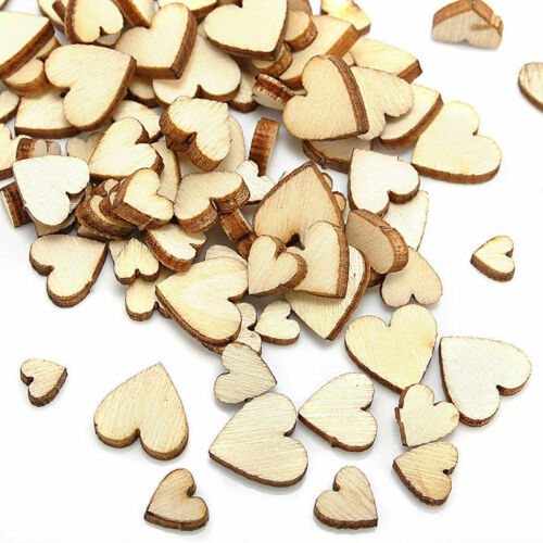 100x Rustic Heart Love Wooden Wedding Table Scatter Decor DIY Wood Crafts
