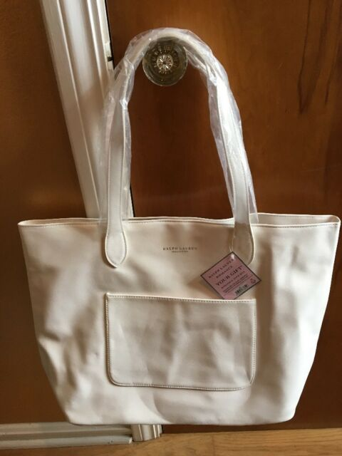 Ralph Lauren Romance Tote Bag White Ivory Women Beach Travel Gift ... cc8c18b3616f8
