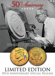 24K-Gold-Plated-50th-Anniversary-50-YEAR-LOGO-2014-JFK-Half-Dollar-US-Coin-D