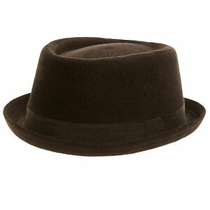 Unisex-Black-Corduroy-Pork-Pie-Cord-Trilby-Hat-100-cotton