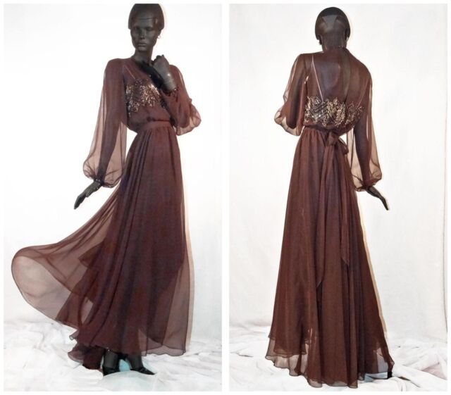 1930s 1940s Style Evening Gown Brown Deco Beaded Chiffon Sz 10 # 1135
