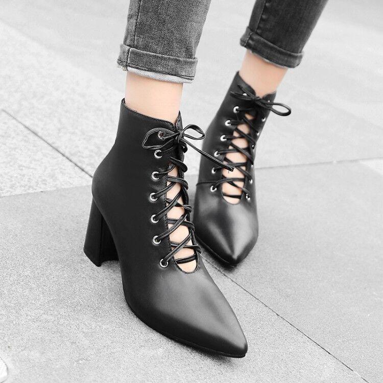 Bloque en punta punta punta de mujer negra Med Tacones botas al tobillo con Cordones Alto Top Zapatos Talla  Disfruta de un 50% de descuento.