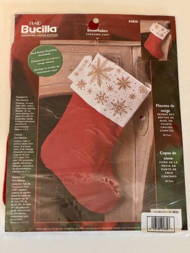 Bucilla Cross Stitch Personalization Velvet Xmas Stocking Kit NOS Sealed