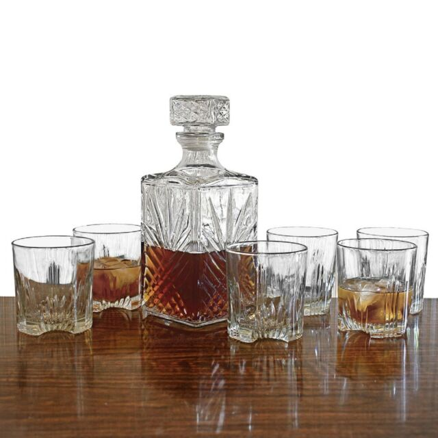New Whiskey Glass Set 7pc Decanter Stopper Bottle Scotch Bar Rock Glasses Liquor
