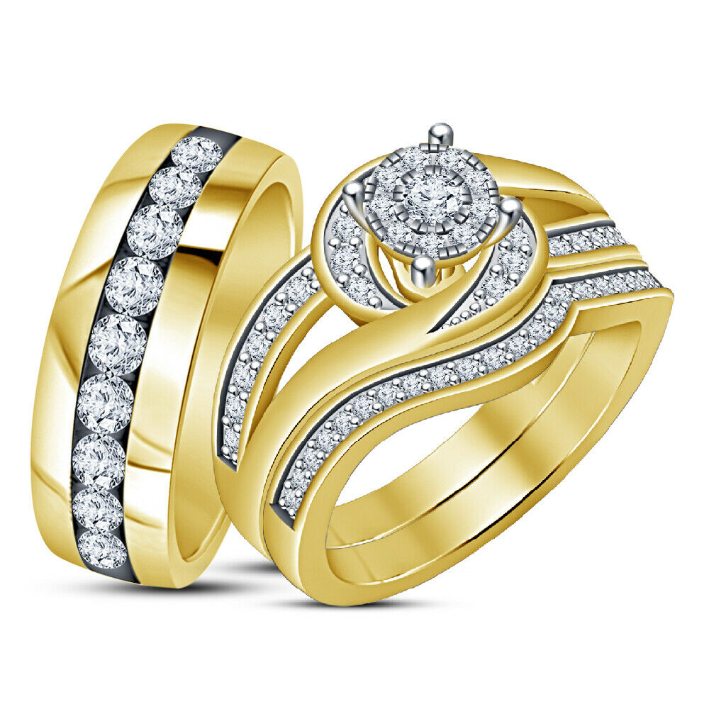 Mens Womens 14K Yellow gold Over Round Diamond Engagement Wedding Trio Ring Set