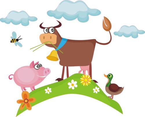 Murales vaca Anton /& Friends pato cerdo abeja pradera granja pared Pegatina