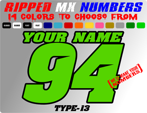 Custom 2 Color Name Motorcyle Number Plate Racing Decals