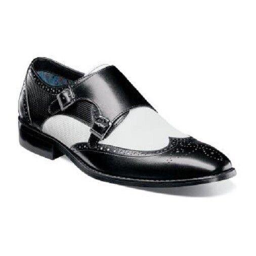 fino al 60% di sconto Mens scarpe Stacy Adams Lavine Wingtip Double Monk Strap Strap Strap nero bianca  25171-111  godendo i tuoi acquisti