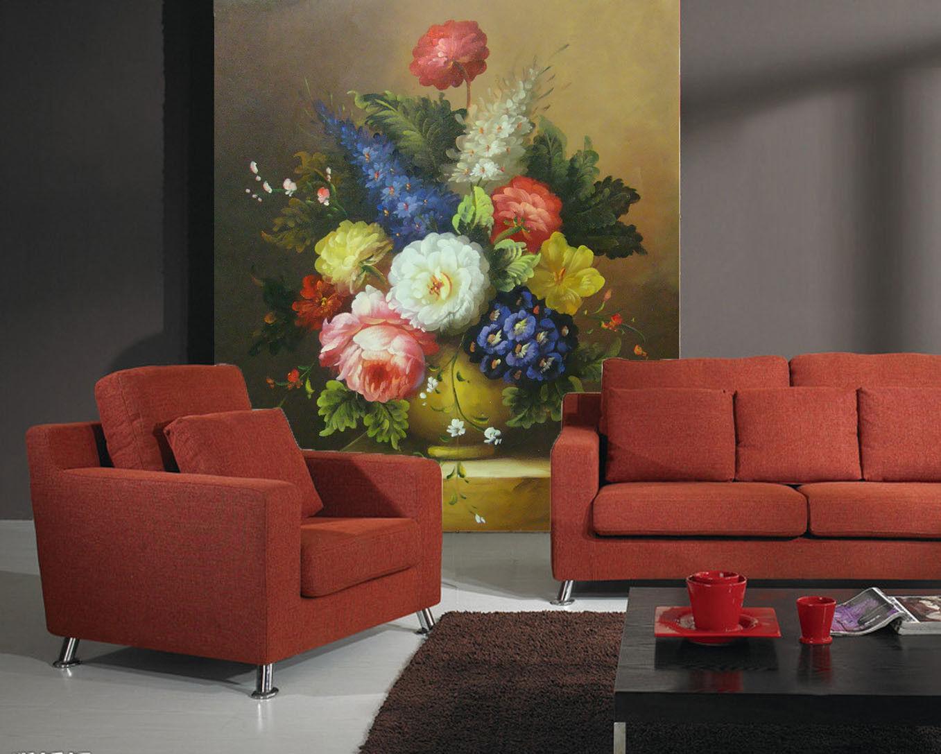 3d Flower Vase Table 74 wandpaper Mural wandpaper wandpaper Picture Family De Summer