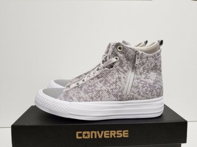 37a30ab454c7 WOMENS CONVERSE CHUCK TAYLOR SELENA WINTER KNIT MID MOUSE DOLPHIN WHITE  553356C