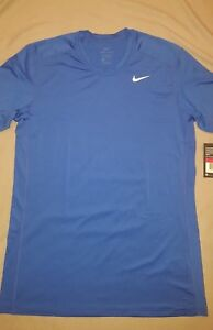 b8281daf83270a NIKE TRAINING DRI FIT BLUE FITTED T-SHIRT MENS LARGE NEW WITH TAGS ...