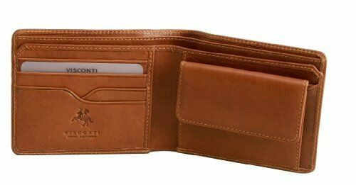 Visconti VCN19 Mens Genuine Leather Bifold Wallet ID Credit Card Holder Tan Gift
