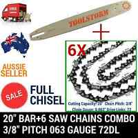 Full Chisel 20 Bar+6 Chain Combo For Stihl Chainsaw Chain Saw 3/8 72dl .063