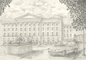 John-Edwards-Signed-Contemporary-Graphite-Drawing-Queens-Hotel-Cheltenham