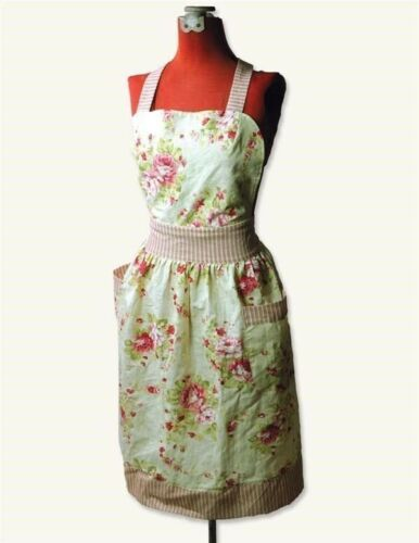 Victorian Trading Co Cabbage Pink /& Red Roses Apron