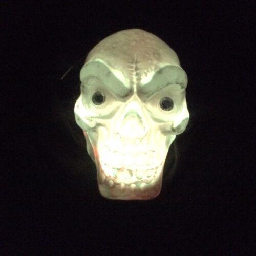 Gothic Shrunken HANGING BLACK HOODED SKULL Flashing Lights Halloween Decoration