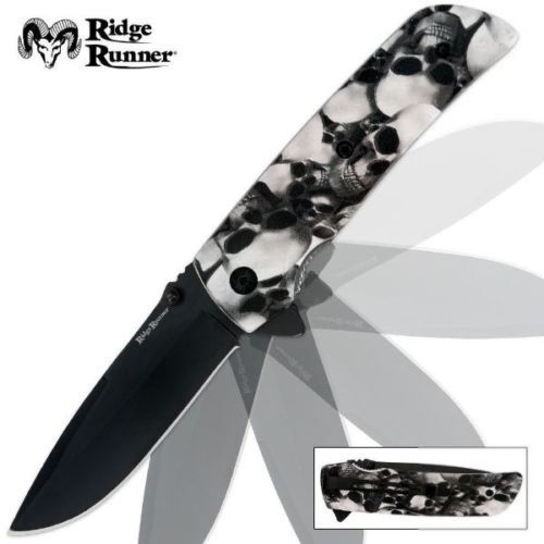RIDGE RUNNER WHITE SKULL CAMO ASSISTED OPEN, FOLDER POCKET KNIFE, 4 1/2″ CL.,NIB