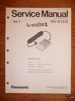 Begeistert Service Manual Panasonic Nv-a13-e Remote Für Nv-100 NüTzlich FüR äTherisches Medulla