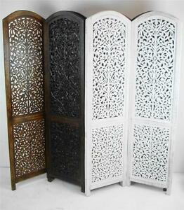 Image Is Loading 4 Panel Carved Indian Screen Wooden Divider