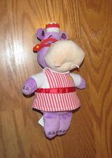 "Disney Store Jr Doc McStuffins 8"" Hallie Hippo Bean Tush Stuffed Plush Doll Toy"