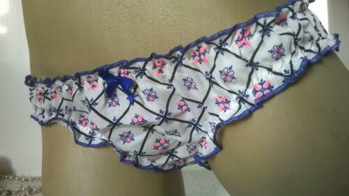 Pretty ivoire floral mini bikini culotte frilly knickers s uk 8