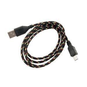 Cavo-Micro-USB-con-Guaina-Intrecciata-1m-Nero-per-Samsung-Nexus-LG-HTC-Nokia