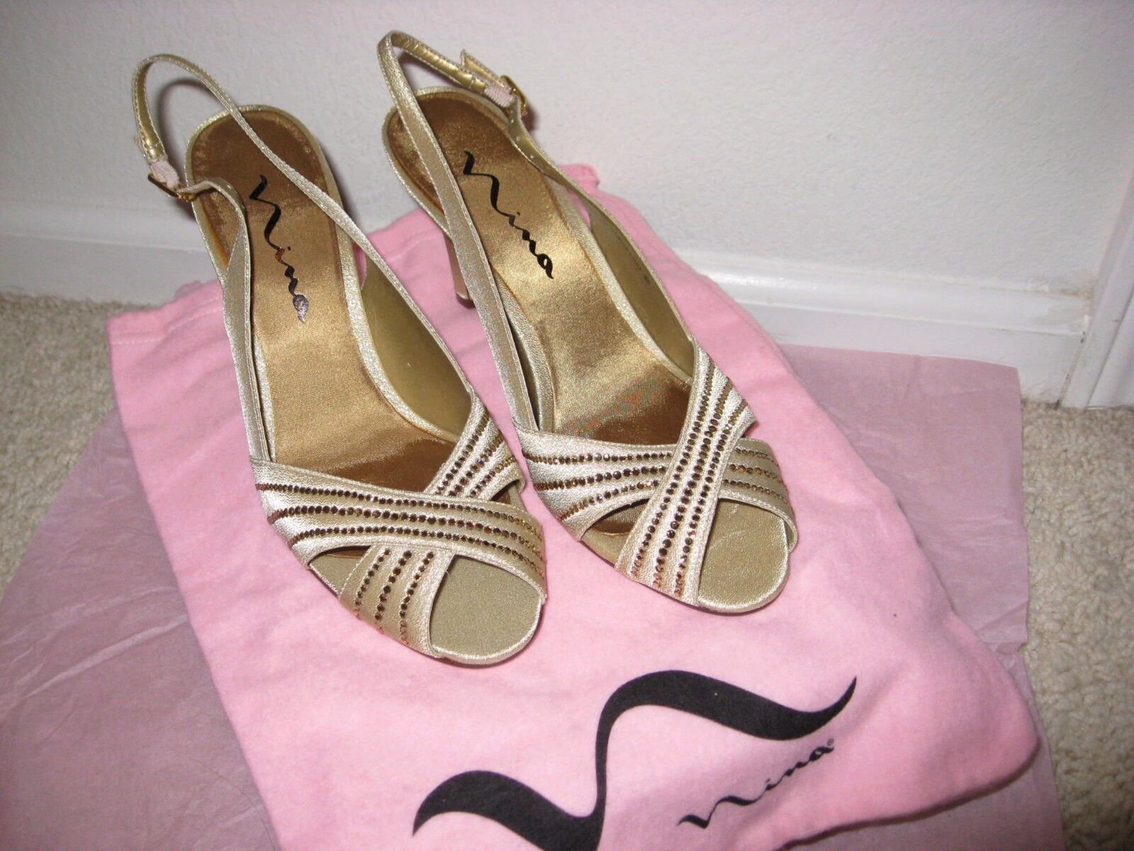 NEW Nina Camille GS Gold Glimmer Slingback Heels Size 71/2