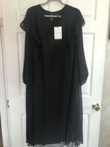 Who What Wear Jet Black Polka Dot /& Plum Plus Size Maxi Dress Women/'s 2X