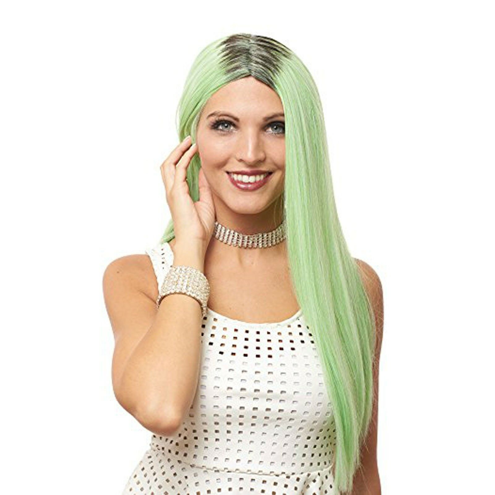 Women S Mint Green Super Long Straight Hair Kylie Costume Wig For Sale Online