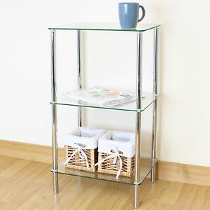 Superbe Image Is Loading 74cm Clear Glass 3 Tier Shelf Display Unit