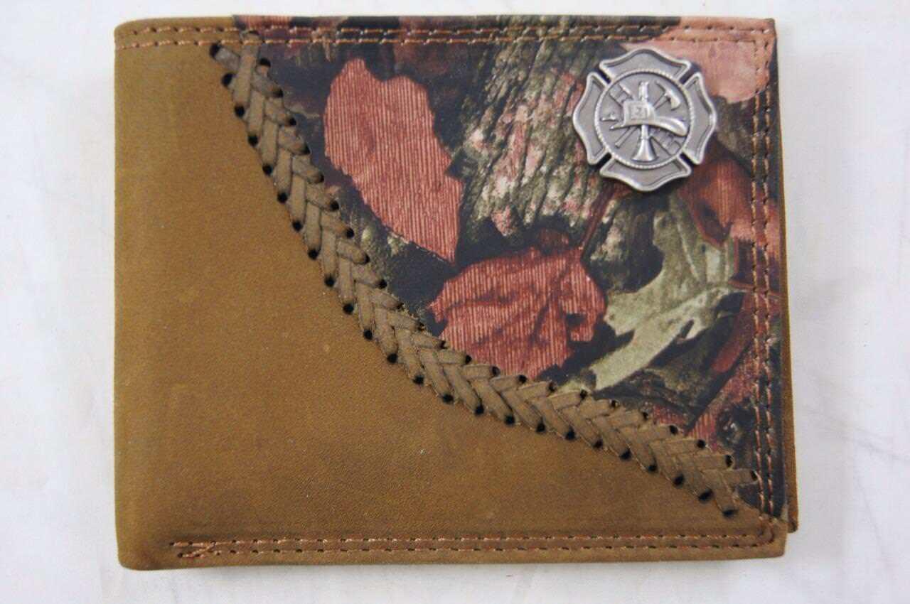 ZEP PRO MALTESE CROSS Fireman Fence Row Camo Leather bifold Wallet Tin Box
