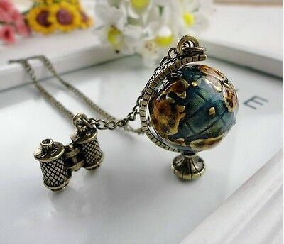Antique bronze  Charm Globle Bead Telescope Pendant Long Chain Necklace