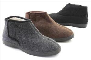 neu authentisch Niedriger Verkaufspreis ästhetisches Aussehen Details zu Herren Opas Hausschuhe Filz Optik Schuhe Klettverschluß schwarz  grau braun
