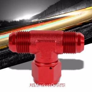 Red Male Tee Shape Flare Female Center Port Oil/Fuel Hose 16AN Fitting Adapter