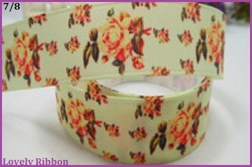 Ribbon 1 metre ORANGE FLOWERS 22mm Floral BUY 5m GET 6 Grosgrain 7//8