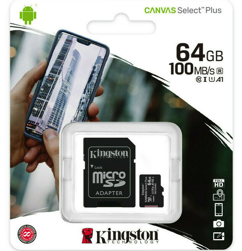 Kingston 64GB micro SD Karte SDXC Class 10 UHS-I 100MB/s Speicherkarte DE/OVP