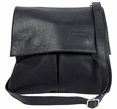 Echt Leder Tasche  Umhängetasche Handtasche Schultertasche schwarz MC102940