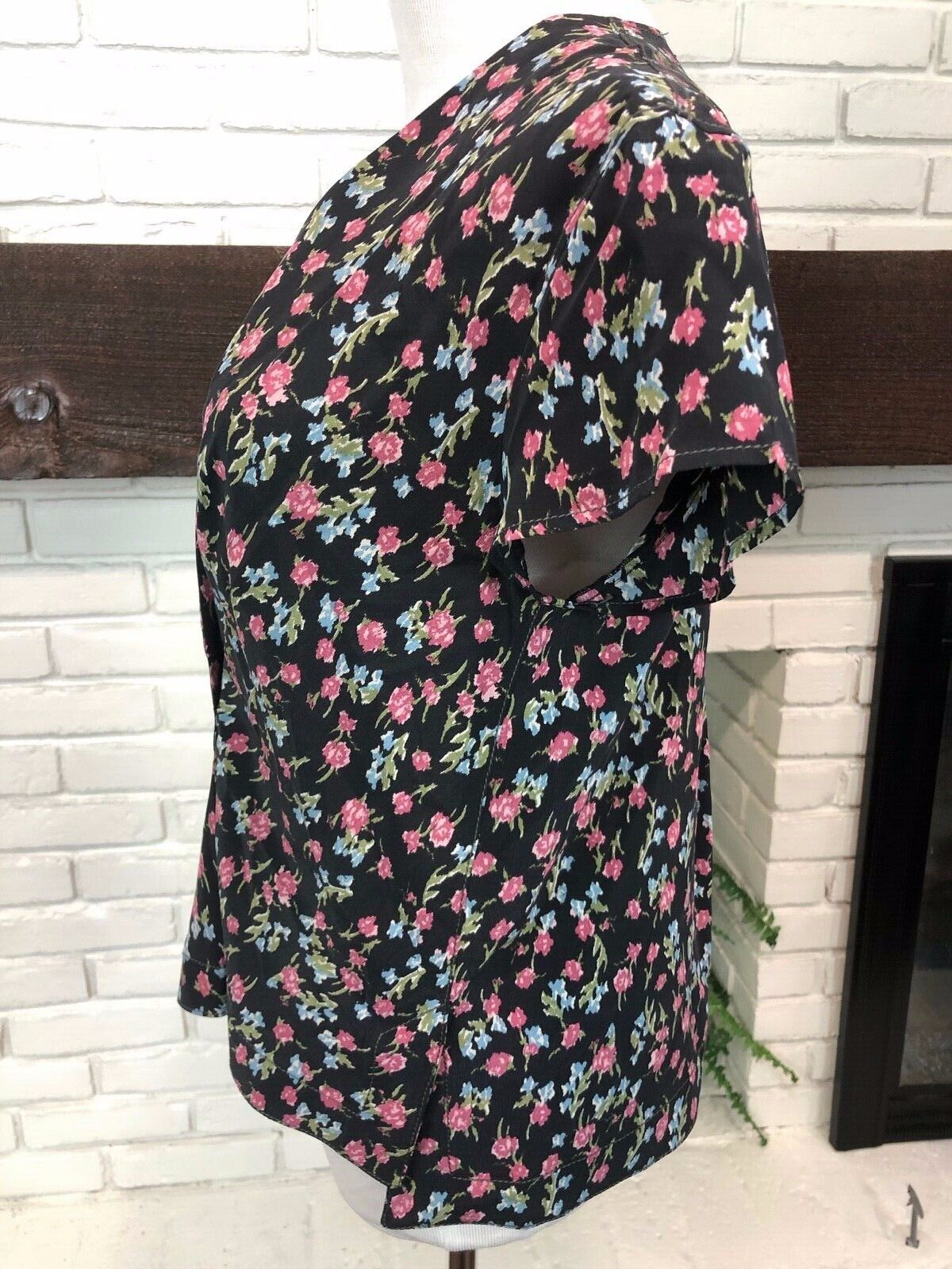 RAG AND BONE Floral Short Sleeve Blouse Size XS B… - image 4