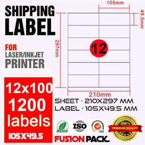 Box of 100 sheets a4 Adhesive Paper 100 labels 210x297 mm Inkjet Laser
