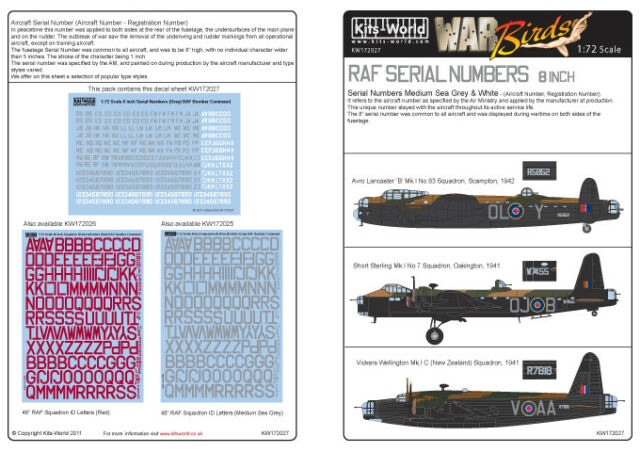 Kits-World 1/72 RAF Serial Numbers 8 inch Medium Sea Grey and Wh