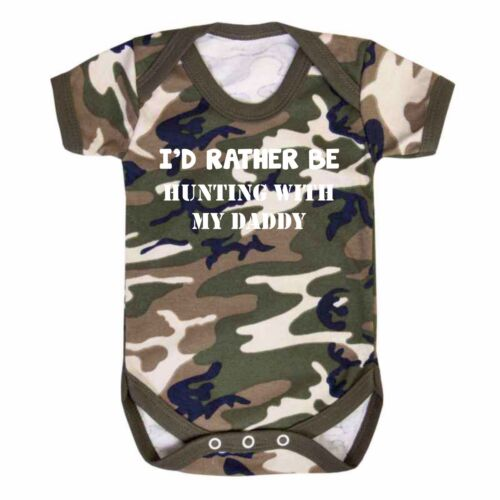 I/'d Rather be Hunting Camo Baby Vest Babygrow RAF Army Camouflage Fishing