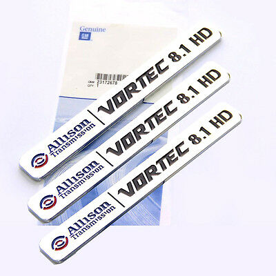 2x OEM ALLISON TRANSMISSION 8.1 HD VORTEC EMBLEMS BADGES GMC 2500HD 3500HD Bk RD