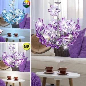 LED-Plafonnier-suspendu-Lampe-RGB-telecommande-fleurs-Lumiere-Mauve-ess-chambre
