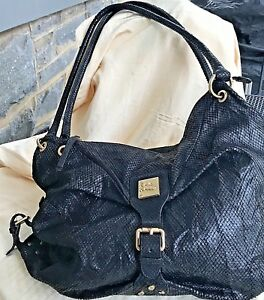 Image Is Loading Jenrigo Handbag Italy Black Soft Body Textured Leather